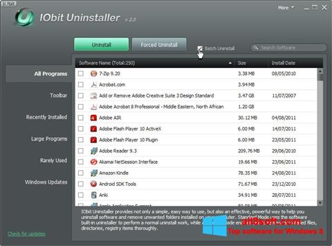 Captură de ecran IObit Uninstaller pentru Windows 8