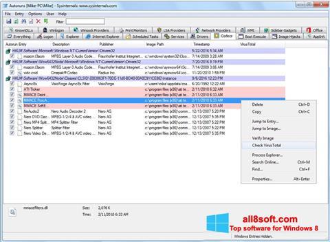 Captură de ecran AutoRuns pentru Windows 8