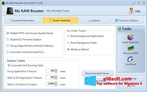 Captură de ecran Mz RAM Booster pentru Windows 8