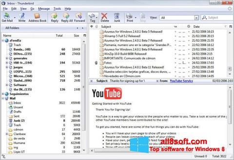 Captură de ecran Mozilla Thunderbird pentru Windows 8