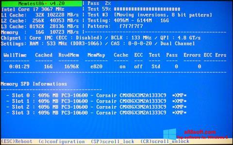 Captură de ecran MemTest pentru Windows 8