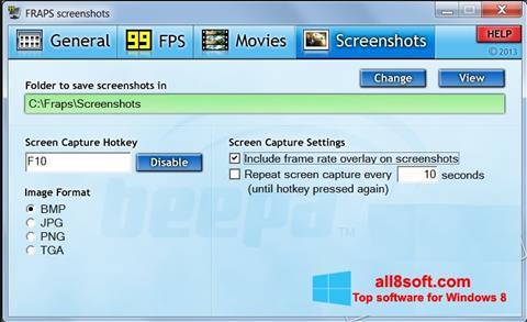Captură de ecran Fraps pentru Windows 8