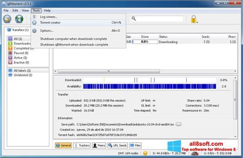 Captură de ecran qBittorrent pentru Windows 8