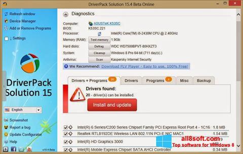 Captură de ecran DriverPack Solution Online pentru Windows 8