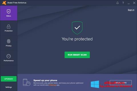 Captură de ecran Avast Free Antivirus pentru Windows 8