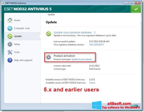 Captură de ecran ESET NOD32 pentru Windows 8