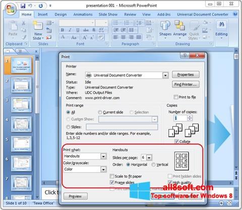Captură de ecran Microsoft PowerPoint pentru Windows 8