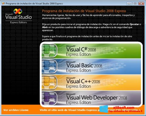 Captură de ecran Microsoft Visual Studio pentru Windows 8